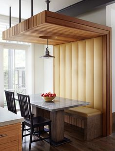 High backed banquette with canopy