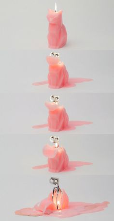 Look at the cute little kitty candles… and you'll get surprised by the true insides - the cat skeleton, as they melt. The cute candles are called The Devil's Pet by the Icelandic creator Thorunn Arnadottir Crazy Cat Lady, Crazy Cats, Cat Candle, Cat Skeleton, Adornos Halloween, Decoration, Projects To Try, Geek Stuff, Cat Stuff