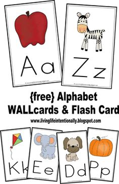 FREE Alphabet Wall Cards and Alphabet Flashcards - these are such nice, simple flashcards to print on cardstock and put in your homeschool or classroom. So many uses for flashcards like practicing and hands on alphabet hunts, matching,etc. Teaching Letters, Preschool Letters, Alphabet Activities, Literacy Activities, Writing Letters, Alphabet For Kids, Alphabet Worksheets, Preschool Kindergarten, Preschool Learning