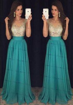 Charming Prom Dress,Beading Prom Dress,Chiffon Prom Dress,O-neck Prom Dress ,A-line Evening Dress,lo on Luulla