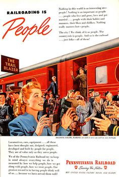 Railroading is people! #travel #1940s #WW2 #ad #trains