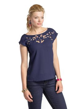 Top with Lace Neckline