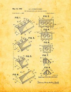 """Lego Toy Building Sets And Building Blocks Patent Print - Golden Look 5"""" x 7"""" for $7.95"""