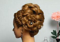 Romantic braided updo. Hairstyles for long hair. Праздничная прическа, в...