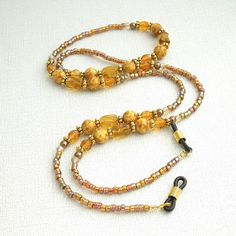 Beaded Eyeglass Chain - Gold Glass and Yellow Brown Beads - Reading Glasses Holder for Seamstress, Beader, Knitter Beaded Jewelry, Handmade Jewelry, Beaded Bracelets, Beaded Lanyards, Eyeglass Holder, Gold Glass, Yellow And Brown, Jewelry Crafts, Eyeglasses
