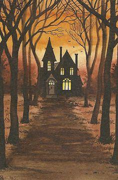 3rd grade art, haunted house