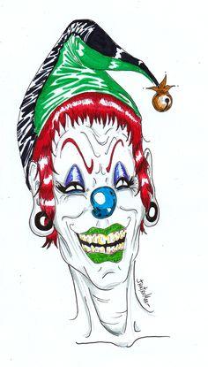Tony (payaso malvado) - 2015 - JhetroMan.-  Estilografos y lapices escripto en hoja de Block  #dibujo #arte #psicodelia #trip #JhetroMan #psychedelic #drawing #ilustration