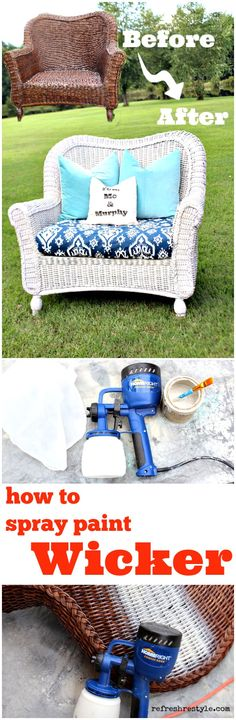 How to spray paint wicker with any color, fast and easy! - #giveaway #homeright #finishmax #ad #spraypaint #paintedfurniture #refreshrestyle