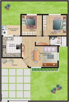 projeto arquitetonico de casas planta baixa 3 quartos - Pesquisa Google
