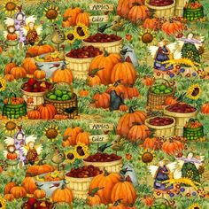 Cotton Quilt Fabric Harvest Time Scarecrow Pumpkin Country Farms 1/2 Yard - product image
