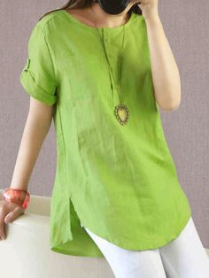Girls Blouse, Looks Chic, Short Outfits, Casual Tops, Shirt Blouses, Tunic Blouse, Linen Blouse, Chiffon Blouses, Work Blouse
