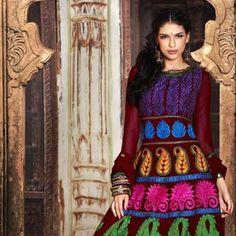 Charming Burgundy Salwar Kameez  Color: Burgundy  Fabric: Faux Georgette  Work: Lace, Resham  Price: £72.00