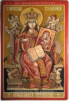 Saint Empress Theodora, protector of Orthodoxy. Byzantine icon handpainted.
