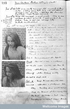 Case notes for Miss Constance Beatrice Coddington Holloway sanatorium for the insane, Virginia Water, Surrey  1889