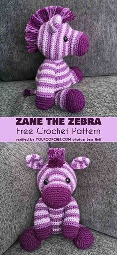 Crochet Diy Zane the Zebra Free Crochet Pattern. The perfectly set out pattern, without the need to cut the yarn in between, allows you to make an equally beautiful crochet toy. Beau Crochet, Crochet Mignon, Crochet Baby Toys, Crochet Gifts, Cute Crochet, Beautiful Crochet, Knit Crochet, Crotchet, Baby Diy Toys