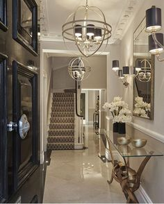 Hallway light fixtures, hallway sconces, entry hallway, entryway, cream d. Luxury Interior Design, Interior And Exterior, Gold Interior, Foyer Decorating, Interior Decorating, Hallway Sconces, Entry Hallway, Georgian Townhouse, London Townhouse