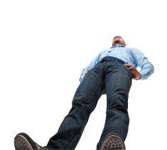 Vue de l'homme de sol, isolé sur blanc stock photo