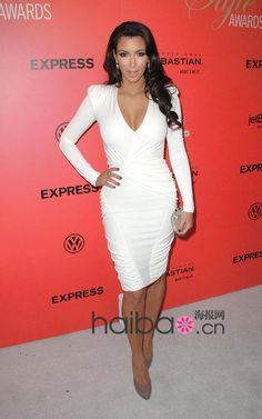 Kim Kardashian elegante abendkleider lange Ärmel neuen im Jahr 2014 hl Berühmtheit damen party kleid vestidos de fiesta damen kleid(China (Mainland))