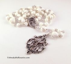 Divine Mercy of Jesus Rosary Beads In Carved White Tridacna Roses wwwUnbreakableRosaries.com