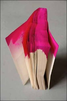 Pink is the Color...take old paperback books...soak the edges in different colors ...make into a journal