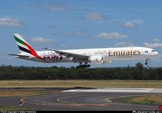 Emirates Boeing 777-31H/ER A6-EPL flaring over the threshold at…