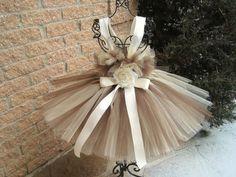 Tutu Dress CAPPUCCINO Bit of Fluff First Birthday by ElsaSieron
