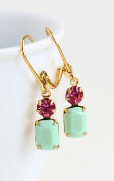 Mint Green Earrings Vintage Green Jewels