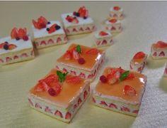 Dessert, cake, miniature food, by Chobikomini