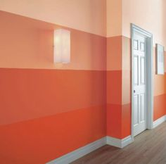 Striped Ombre Wall for Paisleys room in coral or mint Ceiling paint ideas Deco Design, Wall Design, House Design, Ombre Painted Walls, Ombre Walls, Interior Design Living Room, My Dream Home, Diy Home Decor, Sweet Home