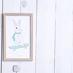 Bunny on a Skateboard Print www.designvintage.co.uk
