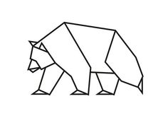 Scandinavian Modern Bear Art Bear Print Geometric by MgdDesign Geometric Bear, Geometric Symbols, Geometric Shapes, Art D'ours, Op Art, Origami Simple, Polygon Art, Art Optical, Origami Animals