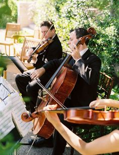 String quartet ~ perfect for an garden wedding. Style Me Pretty The Vault  Real Wedding: Alissa and Ryan.