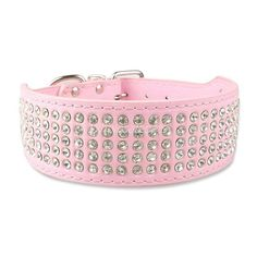 Turn Heads with Bling! Leather Collars with 5 Rows of Rhinestones / 2inches Wide