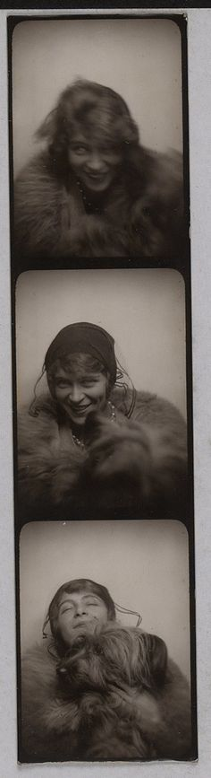 """hauntedbystorytelling: """" Suzanne Muzard, André Breton's lover, and dog, photo-booth, 1929 """" Vintage Pictures, Old Pictures, Vintage Images, Old Photos, Man Ray, Francesca Woodman, Selfies, Vintage Photo Booths, Photos Booth"""