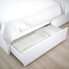 IKEA - MALM, High bed storage boxes, white, Ample storage space is hidden neatly under the bed in 2 large drawers. Perfect for storing quilts, pillows and bed linen. The storage boxes are easy to roll out and in thanks to the castors on the base. High Bed Frame, Malm Bed Frame, Bed Frames, Under Bed Storage, Storage Boxes, Storage Spaces, Underbed Storage Drawers, Storage Organizers, Tv Storage
