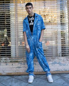 #PAOM x @gabriel_held denim patch print jumpsuit. Link in bio for the full collection  Photo by @myles_ashby  Hair @bkylnwarhol MUA @manthony783 Modeled by @oceanshades  Stylist assistants @lee.xmas @andrewgelwicks#PAOM #printalloverme