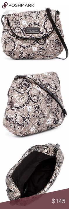"Marc Jacobs Quilted Paisley Crossbody COMING SOON Marc Jacobs Quilted Paisley Crossbody in Grey Multi Print. This has a single adjustable shoulder strap, fold over flap with magnetic closure, exterior has flap zip pocket & hardware logo accent, inside has a wall zip pocket. SIZE: approx. 10.5"" H x 12.5"" W x 3"" D  strap drop approx. 17-25"" Marc Jacobs Bags Crossbody Bags"