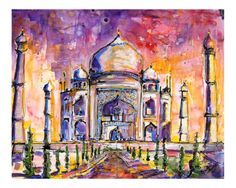 Taj Mahal - India Stretched Canvas Print by Ginette Callaway at Art.com