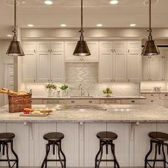 cool Kashmir White Granite - Transitional - kitchen - Benjamin Moore White Dove - Studio 212 Interiors