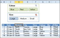 Use Slicers to filter a table in Excel 2010