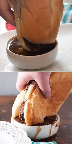 Everyone's favorite crockpot recipe! This French Dip sandwich is perfect for busy nights! Everyone's favorite crockpot recipe! This French Dip sandwich is perfect for busy nights! Best Sandwich Recipes, Meat Recipes, Cooker Recipes, Crockpot Recipes, Dip Crockpot, Recipe For Sandwich, Crockpot Meals Easy, Chuck Roast Recipes, Sauce Recipes