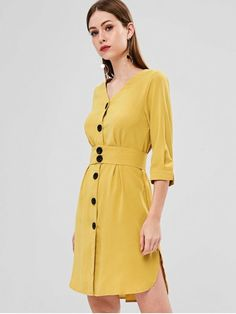 Product Side Slit Button Up Dress available for Zaful WW, get it now ! Pop Fashion, Fashion Models, Girl Fashion, Fashion Design, Fashion Trends, Asian Fashion, Dress Fashion, Runway Fashion, Sweater Fashion