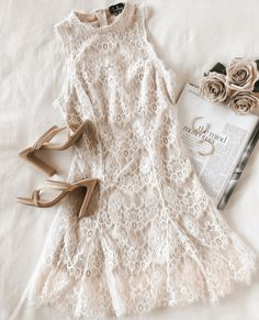 Our happy ending starts with the Lulus Dreaming of Forever White Lace Mock Neck Mini Dress! Lace mini dress with a mock neck and godets at the A-line hem. Women's Dresses, Bridal Dresses, Casual Dresses, Girly Outfits, Dress Outfits, Cute Outfits, Fashion Outfits, Fashion Flatlay, Fall Fashion