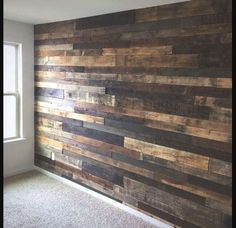 Really want to do as an accent wall in my kitchen to cover up the old style fake wood wall DIY Rustic Pallet Wood Wall Pallet Furniture DIY Palettes Murales, Diy Wood Wall, Diy Pallet Wall, Palet Wood Wall, Pallett Ideas, Pallet Backdrop, Rustic Backdrop, Rustic Curtains, Palette Diy
