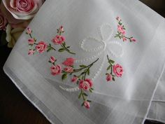 The Pink Rose Cottage - Vintage Embroidered Pink Rose and Bow Wedding Handkerchief