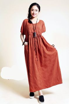 women summer dress linen dress long dress plus size by customsize, $69.00