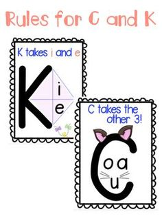 Rules for C and K posters - Английский язык - Education Phonics Reading, Teaching Phonics, Phonics Activities, Reading Activities, Teaching Reading, Physical Activities, Reading Help, Guided Reading, Teaching Ideas