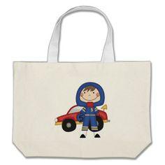 Stick Figure Boy Race Car Driver Tshirts Canvas Bags