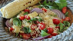 Summer Salad with Corn, Rice, Cherry Tomatoes, and Arugula | Lundberg Family Farms