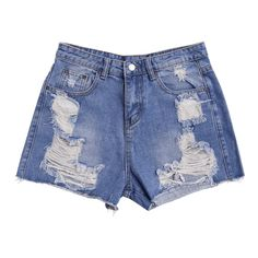 Ripped Cutoffs Denim Shorts Denim Blue ($19) ❤ liked on Polyvore featuring shorts